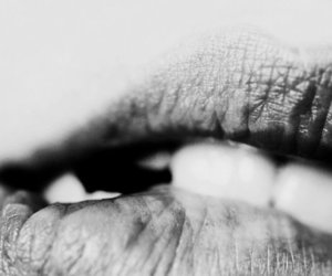 lips, black and white, and teeth image
