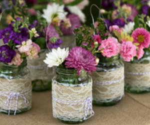 flowers, lace, and mason jar image