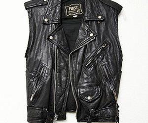 leather, black, and vest image