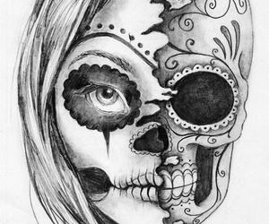 skull, drawing, and art image