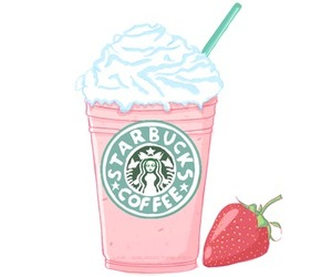 starbucks, strawberry, and pink image