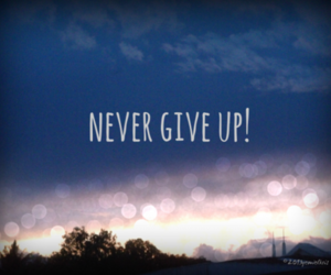 never give up, quote, and never image
