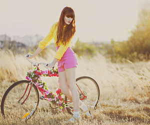girl, fashion, and bike image