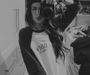 girl, black and white, and camera image