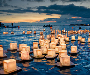 light, sea, and lantern image