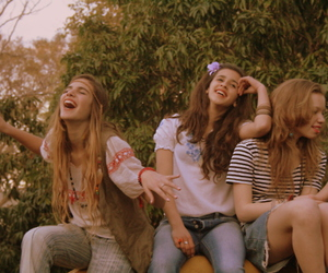 60's, girls, and flower power image