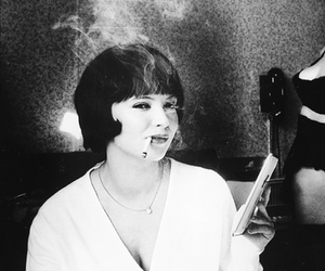 anna karina, old, and black and white image