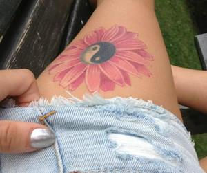 flower, legs, and yin yang image