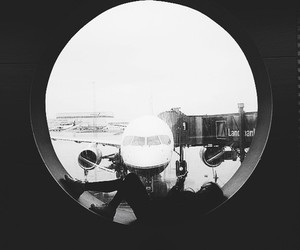 airplane, airport, and girl image