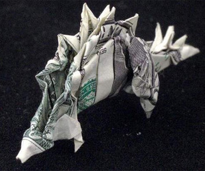 dinosaur, money, and origami image
