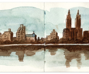 Central Park, illustration, and new york image