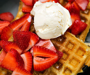 waffles, strawberry, and food image