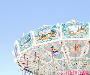 carousel, pink, and sky image