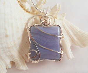 blue, wire wrapped, and blue lace agate image