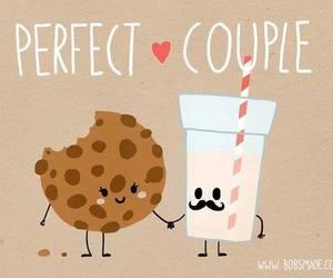 cookie, milk, and couple image