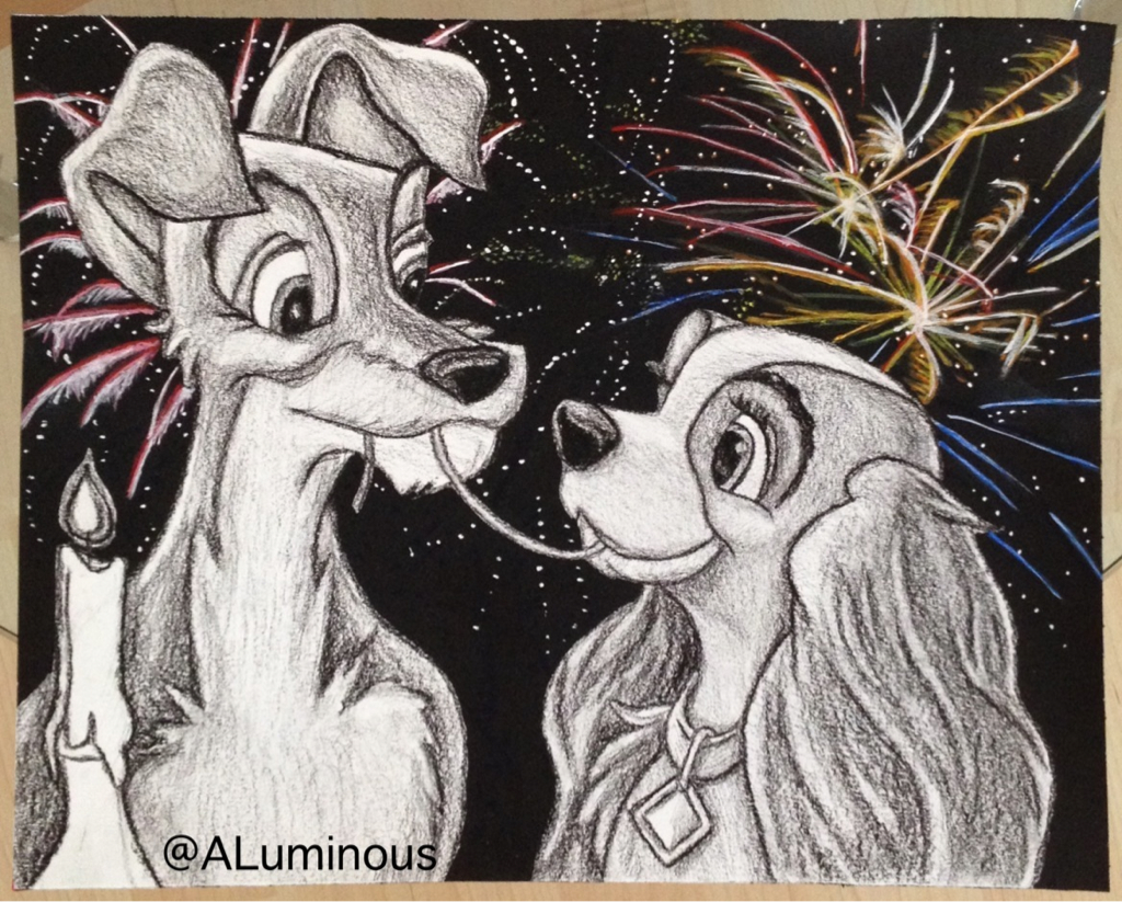 Lady And The Tramp Charcoal Drawing And Acrylic Painting Follow Aluminous On Ig For More Art