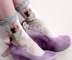 shoes, purple, and ribbon image