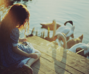 girl, Swan, and photography image