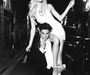 model, black and white, and couple image