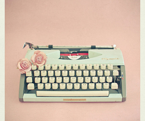 vintage, typewriter, and rose image