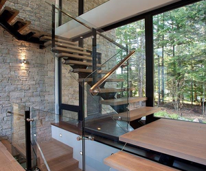 architecture, wood, and glass image