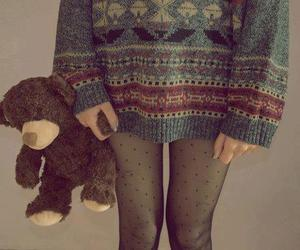 girl, sweater, and bear image
