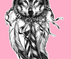 Dream, pink, and wolf image