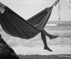 beach, black and white, and relax image