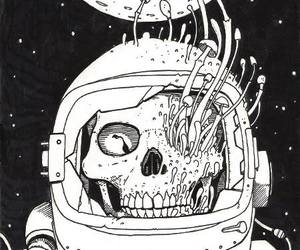 skull, mushroom, and space image