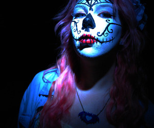 day of the dead, facepaint, and girl image
