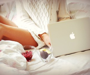 bed, Mac Book Pro, and summer image