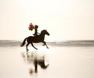 horse, beach, and balloons image
