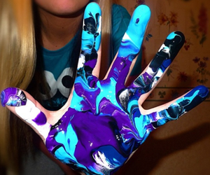 blue, hand, and paint image