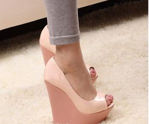 shoes, pink, and wedges image