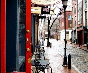 cafe, street, and coffee image