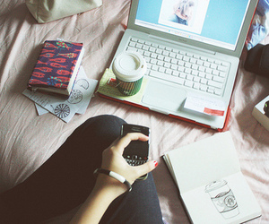 book, coffee, and computer image