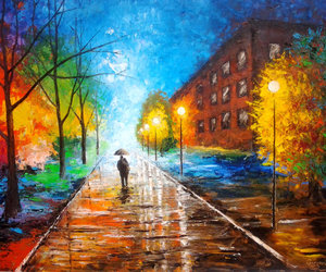 oil on canvas, original painting, and walk in the rain image