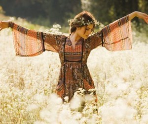 flowers, hippie, and dress image