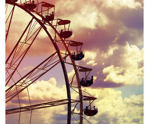 sky, clouds, and ferris wheel image