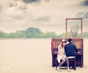 piano, couple, and love image