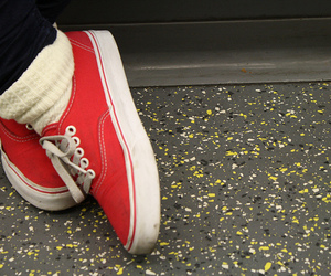 girl, red vans, and red image