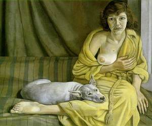 breasts, girl, and Lucian Freud image