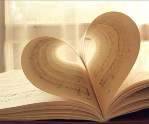 book, heart, and music image