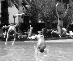 black and white, pool, and friends image