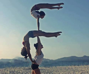 acrobatic, beach, and girls image