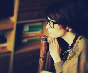 girl, alone, and glasses image