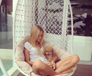 girl, hammock chair, and puppy image