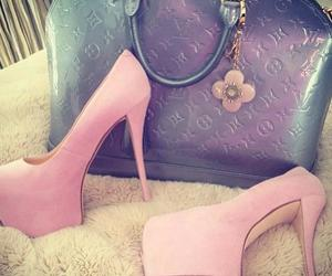 pink, bag, and heels image