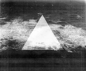 triangle, black and white, and sea image