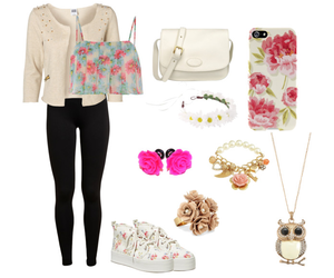 accesories, clothes, and flowers image